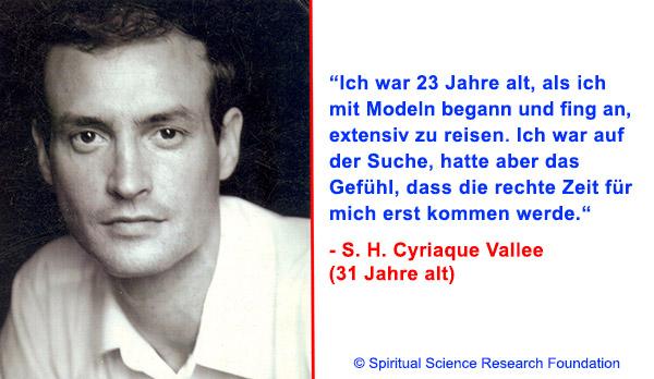 Der spirituelle Weg Seiner Heiligkeit Cyriaque Vallees (31 Jahre)