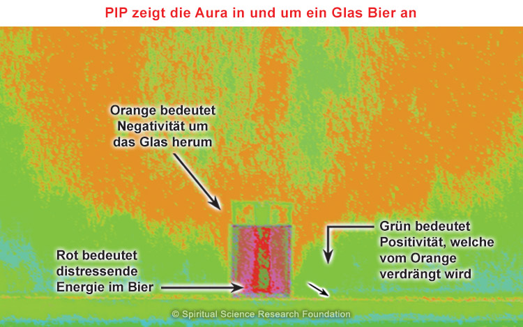 PIP zeigt die Aura in und um ein Glas Bier an