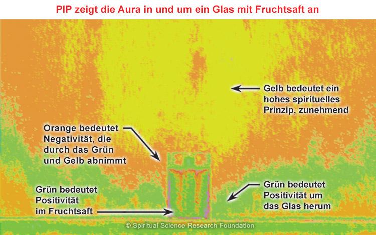 PIP zeigt die Aura in und um ein Glas mit Fruchtsaft an