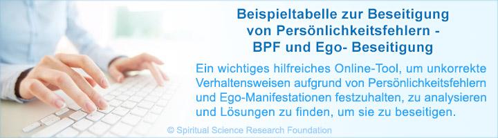 Beispieltabelle zu BPF und Ego-Beseitigung