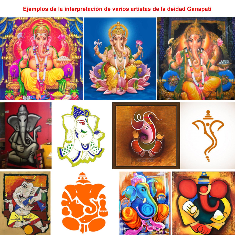 Haciendo las pinturas de la deidad Ganesh (deidad Ganapati) espiritualmente más puras