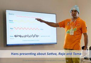 Hans presenting about Sattva, Raja and Tama
