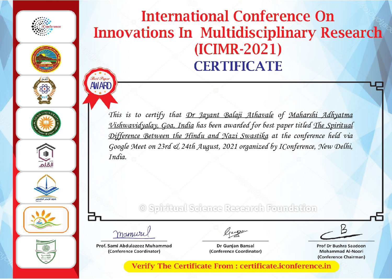 ICIMR 2021 Certificate