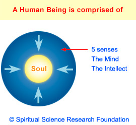 A human is composed of the 5 senses, mind and intellect