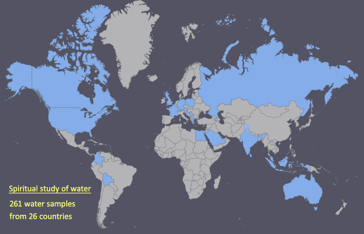 Water studies for its spiritual properties from various countries