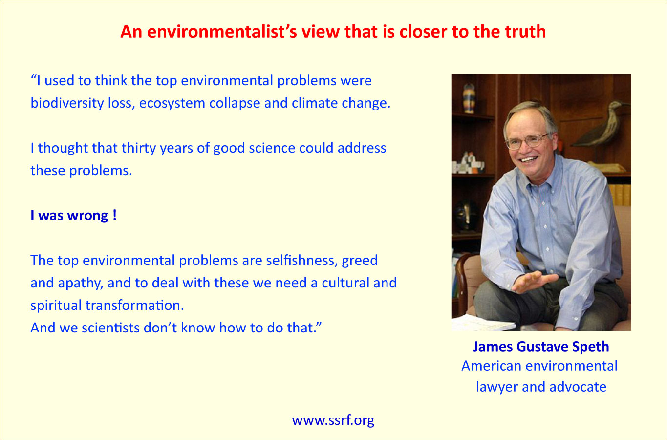 Gus Speth on climate change quote