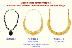 Experiment to demonstrate that necklaces emit different subtle vibrations as per their design