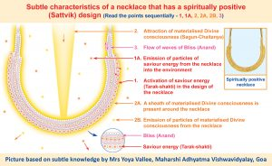 Subtle characteristics of a necklace that has a spiritually positive (Sattvik) design
