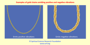 Examples of gold chains emitting positive and negative vibrations