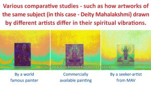 Various comparative studies - such as how artworks of the same subject (in this case - Deity Mahalakshmi) drawn by different artists differ in their spiritual vibrations.