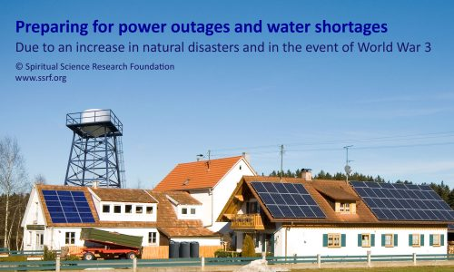 Prepare for power outages and water shortages during natural disasters and World War 3