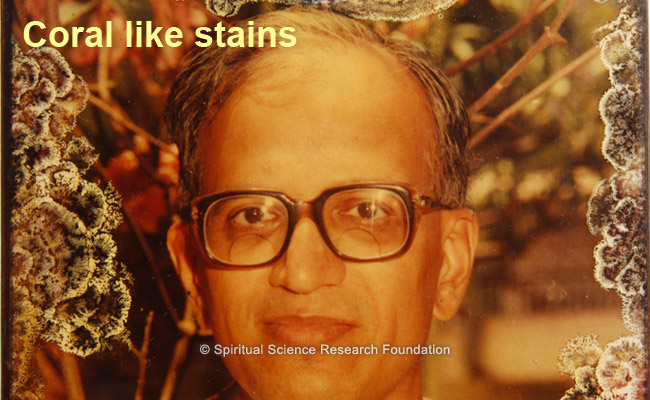 Weird coral like stains appearing all around the border on a picture of His Holiness Dr. Athavale