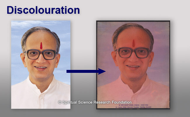 His Holiness Dr Athavale's picture automatically taking on a reddish discolouration. The original photograph is shown for comparison