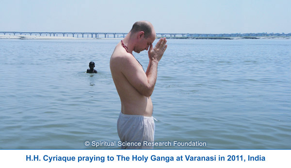 Praying to the Holy Ganga at Varanasi