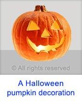A Halloween pumpkin decoration